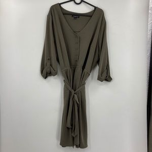 Lane Bryant Olive Half Sleeve Dress w Tie